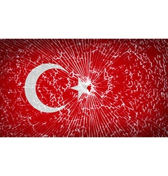 Flags turkey with broken glass texture vector