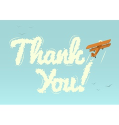 Biplane with word thank you vector