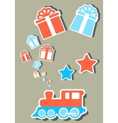 Isolated holiday train with gifts boxes vector