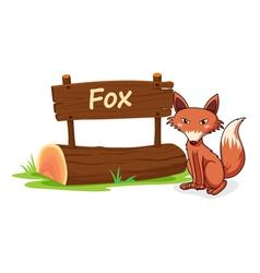 Cartoon zoo fox sign vector