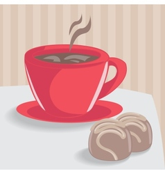 Cup of coffee with chocolate cakes vector