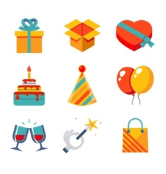 Isolated flat icons set gift party birthday vector