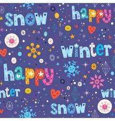 Happy winter snow seamless pattern vector