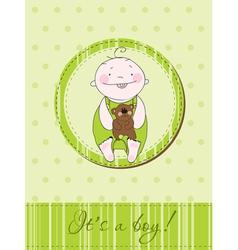 Baby arrival postcard vector