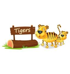 Tiger zoo sign vector