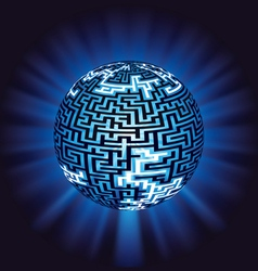 Globe labyrinth - maze with illumination vector