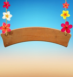 Wooden sign with frangipani vector