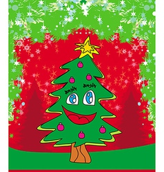 Funny christmas tree card vector