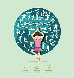 Flat icons with yoga girl character design vector
