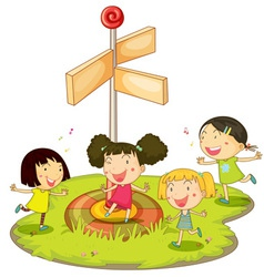Girls playing near sign vector