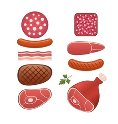 Set of different kind of sausages and meats vector