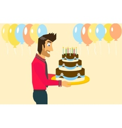 Smiling man is celebrating birthday vector