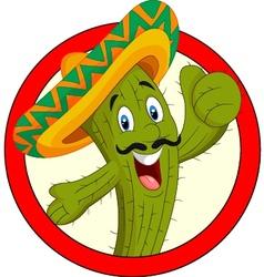 Cartoon mexican cactus character give thumb up vector