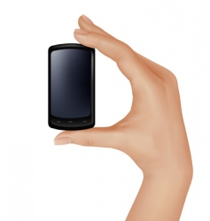 Hand with mobile vector