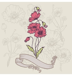 Vintage poppy card vector