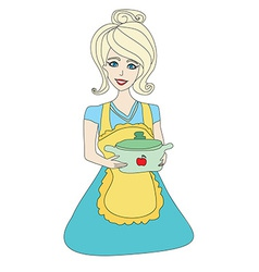 Housewife serving soup vector