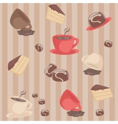 Seamless pattern with coffee cups and cakes vector