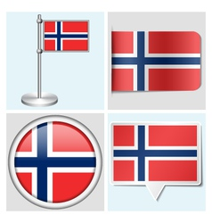 Norway flag - sticker button label flagstaff vector