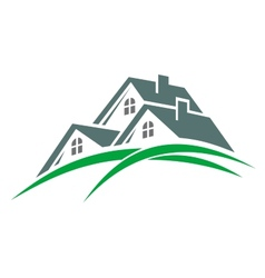 Houses in a green eco environment vector