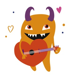 Orange monster with guitar vector