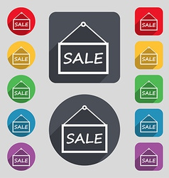 Sale tag icon sign a set of 12 colored buttons and vector