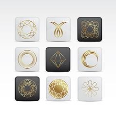 Diamond gold icon set vector
