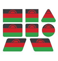 Buttons with flag of malawi vector