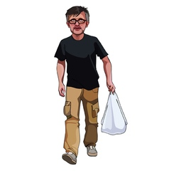 Cartoon man walks with a package in his hand vector