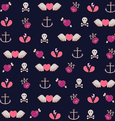 Pattern with hearts roses amd anchors vector