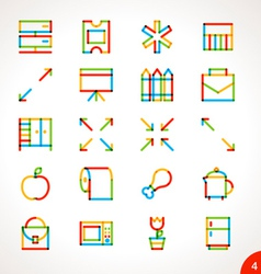 Highlighter line icons set 4 vector