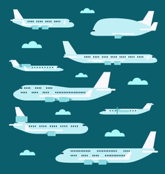 Flat design of airplane set vector
