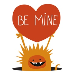 Orange monster with heart vector