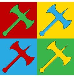Pop art axe icons vector