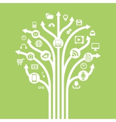 Gadgets and technology symbols on tree with arrow vector
