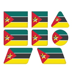 Buttons with flag of mozambique vector