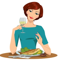 Girl eating fish and drinking wine vector