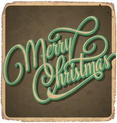 Merry christmas hand lettering vintage card vector