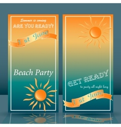 Summer time beach party flyer yellow and blue vector