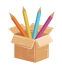 Multicolored pencils with drawn card box isolated vector