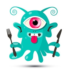 Alien - monster or bacillus with fork and kn vector