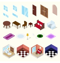 Isometric rooms with furniture vector