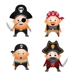 Set of cartoon pirates vector