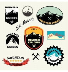 Mountain labels set ski resort logo vector