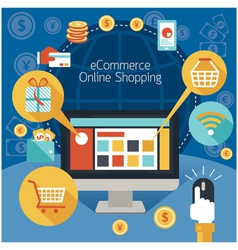Computer monitor with online shopping e-commerce vector