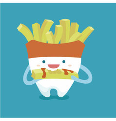Tooth with french fries style vector