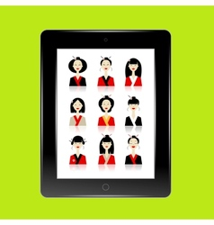 Black abstract tablet pc with asian women avatars vector