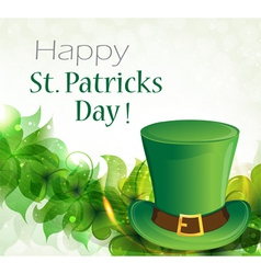 Green leprechaun hat and clover vector