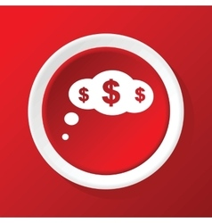 Money thinking icon on red vector