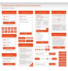 Professional set of orange web forms and elements vector