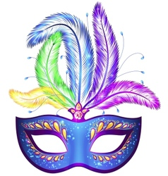 Venitian carnival mask with feathers vector